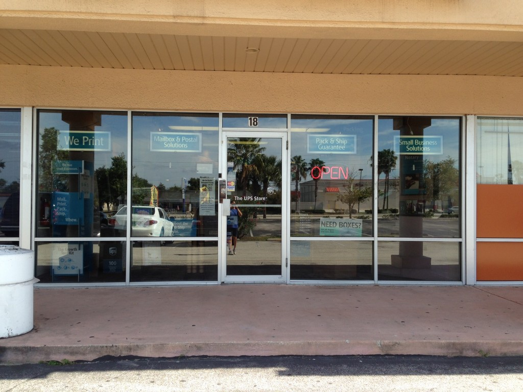 Glass door ups store - Outside View Ups Store Job Completed 2005